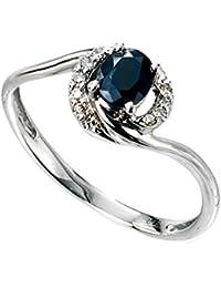 Gelbgold Rundschliff 0,1 Karat Diamant Jewelco London Damen Ring 9 Karat 375