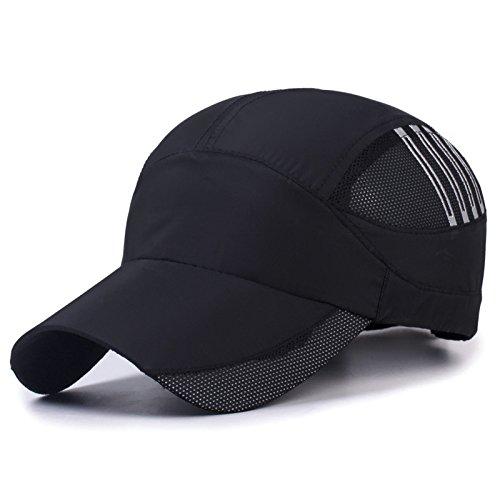 Sombrero de Secado rápido para Exteriores Hombres y Mujeres Cuerpo Ligero Sombrero para el Sol Gorra de béisbol de Verano Sunhat Que procesa Negro 55-60cm