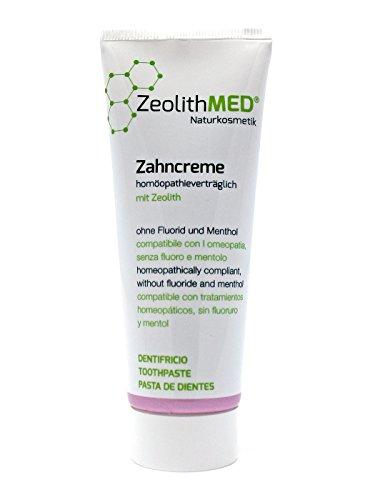 Zeolith MED Zahncreme, Zahnpasta homöopathieverträglich 75ml, natürlicher Wirkstoffkomplex, ohne Fluorid, mentholfrei -