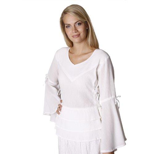 Blusa medieval Sophia - traje de mujer distinguido con accesorios - algodón - blanco natural - XXL