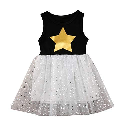 Kostüm Sterne Pop Prinzessin - AIni Baby MäDchen Kleidung, Sommer Mode Elegant Kinder Kinder äRmellose Sterne Drucken Prinzessin Weste Gaze Kleid BeiläUfiges Kleider Strand Festlich Partykleid(130,Schwarz)