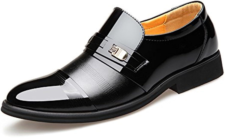 MXNET Zapatos de Negocios Formales Smooth PU Leather Splice Slip-on Breathable Forrado Oxford para Hombres