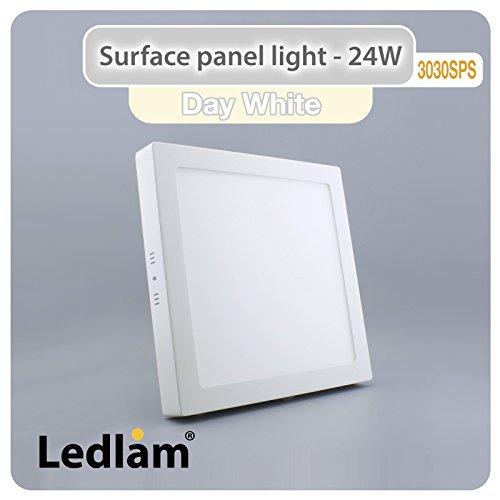 LED Deckenleuchte weiß 24 Watt quadratisch 30x30cm - neutral weiß, 220 Volt, Schutzklasse IP20, Abstrahlwinkel 120 Grad