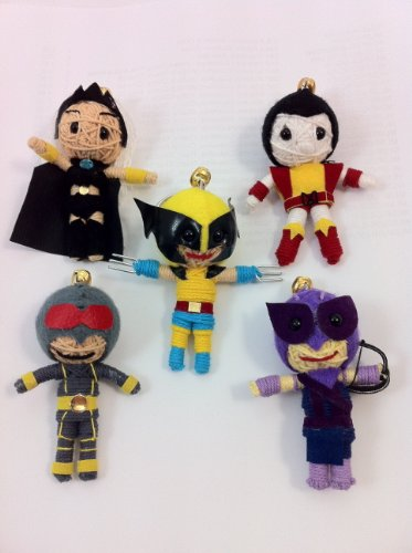 X-Men 5er Set Voodoo String Doll Keychain Version 1 - Colossus, Hawkeye, Classic Wolverine, Storm, Cyclops