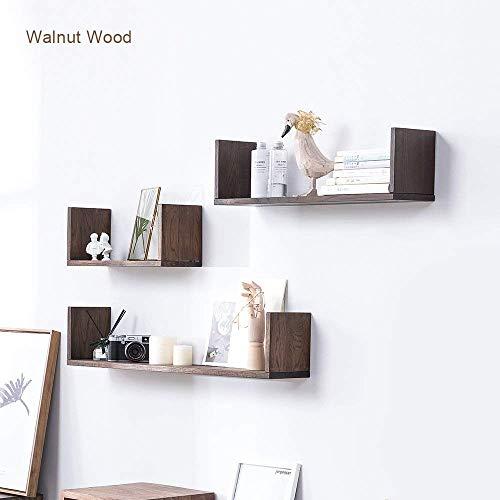 INMAN HOME Eiche Massiv Holz U Form Floating Wandregal Bücherregal Bild Regal Schweberegale 40/60/80 cm (Walnuss, 40CM) -