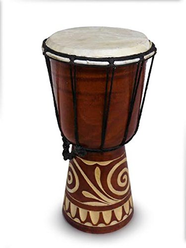 Djembe intagliato da 30 cm, tamburo/bongo dell'Africa occidentale