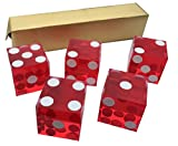 5 x RED NEW PERFECT 19MM PRECISION CASINO DICE / CRAPS STUNNING