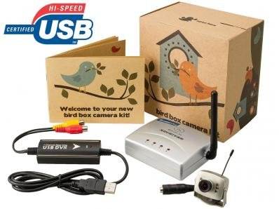 Hidden Pinhole Bird Box camera, Night Vision and Wireless USB Receiver -