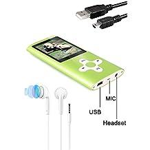 Tabmart Metal Hi-Fi Capacità Di 16GB Lettore MP3 Musicale Portatile Lettore MP4 Ad Alta Risoluzione Con 1,8 Pollici Schermo MP3 Lettore Multifunzione 10 Ore Di Riproduzione Continua, Verde