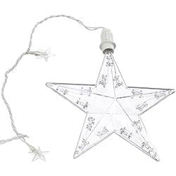 Hellum 506037 - Guirnalda con diseño de estrella para interior y exterior (plástico, 3 estrellas grandes y 15 estrellas pequeñas transparentes, 0,9 x 0,95 m, 3 cuerdas de 35 cm, cable de 4,25 m, incluye transformador), color blanco