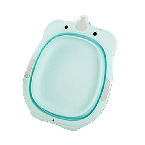 SZYGX Faltbare Kinder kleine Badewanne Waschbecken Baby Kunststoff Baby Care Badewannen,Green - Baby-badewanne Waschbecken,