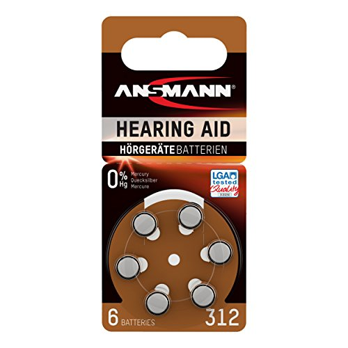 ANSMANN Hörgerätebatterien 312 braun 6 Stück - Zink Luft Hörgeräte Batterien Typ 312 P312 ZL3 PR41 mit 1,4V - Knopfzelle mit besonders langer Laufzeit für Hörgerät Hörverstärker & Hörhilfe (Hörgeräte-braun-batterien)