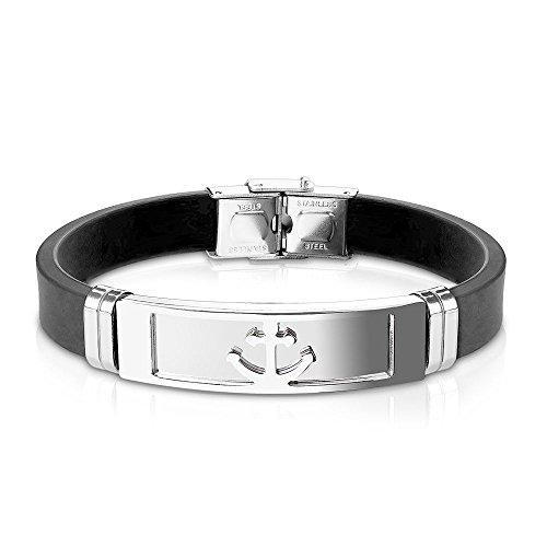 Bungsa® Armband silberner Anker aus Silikon schwarz - mit silberner Edelstahlplatte & Klickverschluss - Herren-Armband für Männer