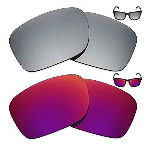 MRY 2Paar Polarisierte Ersatz Gläser für Oakley Holbrook Sonnenbrille-Reiche Option Farben, Silver Titanium & Midnight Sun