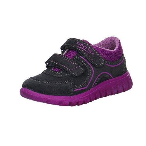 Superfit Mädchen Sneaker Lila Kinderschuhe Klettverschluss Gr. 26-32 Charcoal, Farben:Blau, Kinder Größen:31