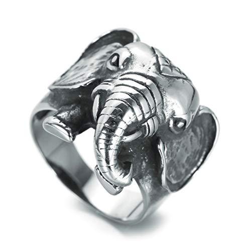 Daesar Anillos Hombre Gotico Elefante Anillos Hombre