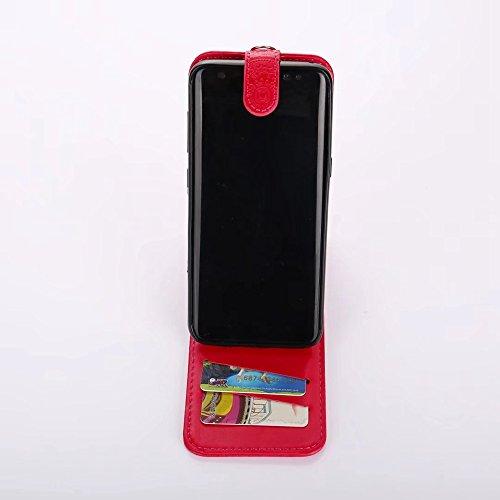 EKINHUI Case Cover Vertikale Flip Stand Case Brieftasche Pouch Style Cover mit geprägten Blumen Blumen & Lanyard & Card Slots für Samsung Galaxy S8 ( Color : Coffee ) Red