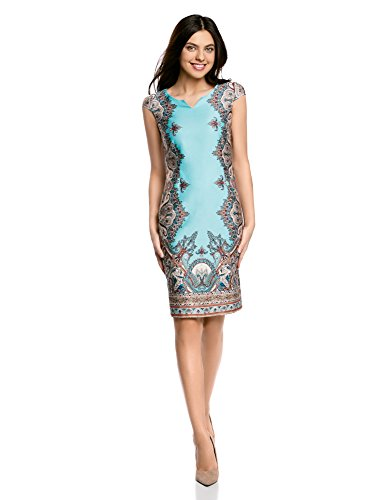 oodji Collection Damen Baumwoll-Kleid mit Ethnischem Druck, Türkis, DE 36 / EU 38 / S (Mens Tag Casual Kleid-schuhe)