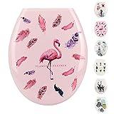 WC-Sitz Pflegeleichter Thermoplast Flamingo WC Sitz Toilettensitz Klodeckel Klobrille Toilettendeckel (Flamingo und Feder)