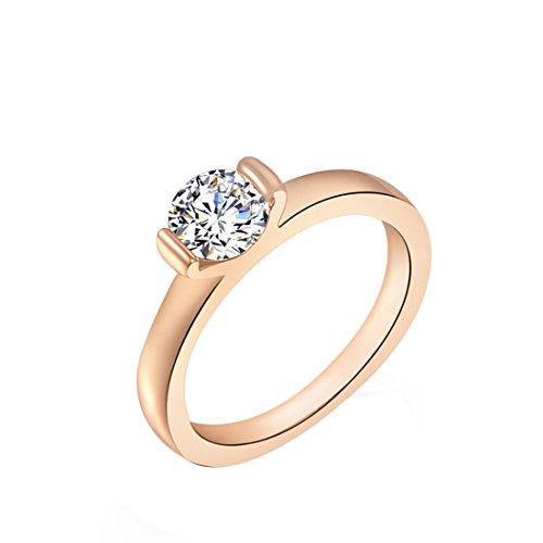 joyliveCY fashionwedding Finger Ring Schmuck Frau Classic Fancy Lady 's Rose Gold Single Diamant Ring UK Größe Q -