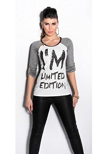 Maglietta Donna T-shirt elasticizzata Bicolore scollo tondo manica lunga Tg.Unica Grigio scuro