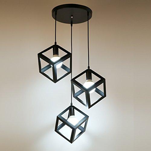 Luckyfree Kreative Modern Fashion Anhänger Leuchten Deckenleuchte Kronleuchter Schlafzimmer Wohnzimmer Küche, Das Schwarze Quadrat 3-Disc Combo 3-farbige Licht