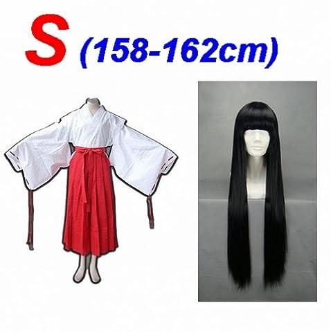 Anime japonais Costume Cosplay Kikyo Kimono Witch ,taille S: (158-162cm,40-50 kg) + Inuyasha Kikyo 80cm
