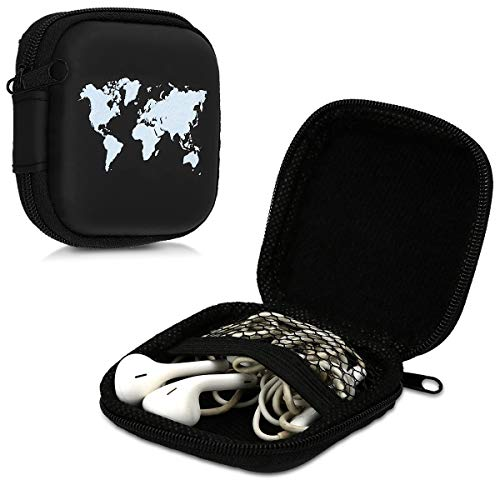 kwmobile Tasche für In-Ear Kopfhörer - Case Hardcase Schutztasche Earphone Cover Schutzhülle - Headphone Etui Weltkarte Umriss Design thumbnail