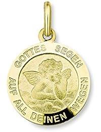 Amor Unisex-Anhänger 333 rund Engel Schutzengel Gottes Segen 18 mm Gelbgold - 343060
