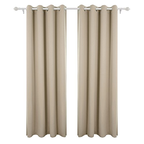 Deconovo tende da sole blackout tende moderno per tua casa 100% poliestere 229x229 cm beige scuro 2 pannelli