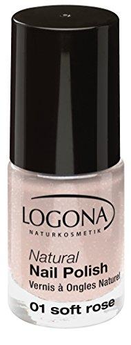LOGONA Naturkosmetik Natural Nail Polish, Nagellack No. 01 Soft Rose, Sanftes Rosa mit leichtem...