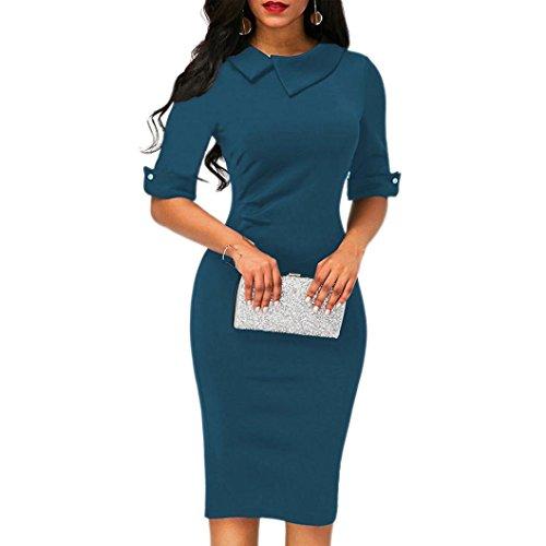 verfügbaren Angebote,Kleider Ronamick Frauen Retro Bodycon unter dem Knie Formale Büro Kleid Pencil Kleid mit Rücken Reißverschluss (Blau, M)
