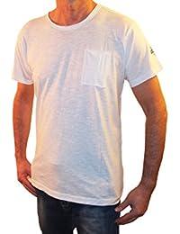 t-Shirt Uomo 1st American Mezza Manica Girocollo a Costina con Taschino al Petto, 100% Cotone Jersey Fiammato