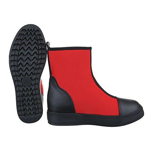 Komfort Stiefeletten Damenschuhe Schlupfstiefel Keilabsatz/ Wedge Keilabsatz Ital-Design Stiefeletten Rot