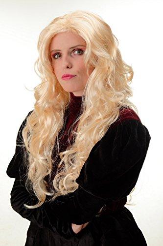 Üppige Blonde Perücke (WIG ME UP - 70631-P02 Perücke Damen Karneval Fasching blond Lockenpracht üppiges Volumen hellblond Mittelscheitel 60)