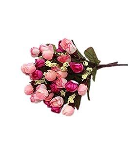 DAYAN Mini Fiori Artificiali Rosa Primavera Fioritura in Seta Decorazione per Cerimonia Matrimonio Party Due mazzo colore colorful