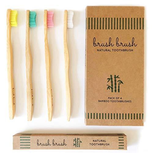 Bambus Zahnbürste   BPA-freie und Vegan Holzzahnbürste   Biologisch Abbaubarer Zahnbürsten Holz   Weiche Borsten   4er Pack Zahnbürsten Bambus   Bamboo & Green -