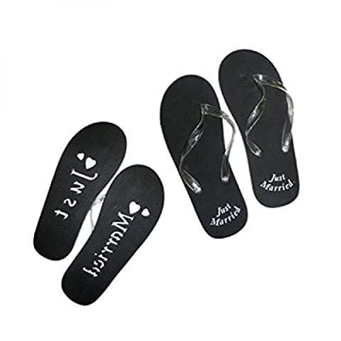 x49 Weihnachtskarte Herren UK 8–12 EU 41–47 schwarz Flip Flops Just Married