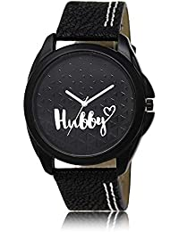 Styllent Attractive Stylish Sport Look Hubby Logo Black Dial Stylish Black Leather Strap Analog Watch For Men...
