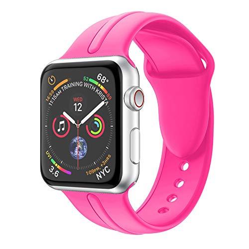 BZLine Armband   Weiches Silikon Ersatz Uhrenarmband   Für Apple Watch Series 4 40mm/44mm   Handgelenkgröße: 5,51-7,28 Zoll   Bandlänge: 96 mm + 117 mm   14 Farben (Für 40MM Armband, Hot Pink) - Herbst-bands