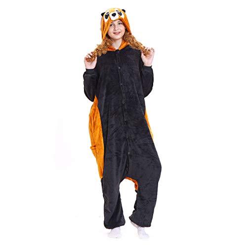 HOOLAZA Unisex Flanell Hoodie Tier Pyjama Waschbär Cartoon Pyjamas Onesies Overall Nachtwäsche Erwachsene Nachtwäsche Kigurumi Cosplay Kostüm