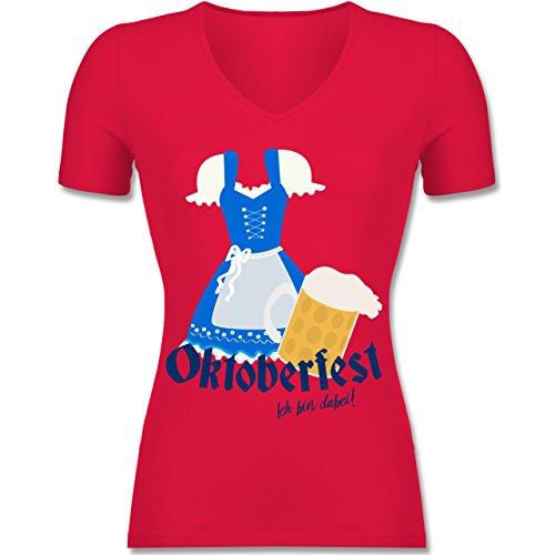 Oktoberfest Damen - Oktoberfest - ich bin dabei! - Tailliertes T-Shirt mit V-Ausschnitt für Frauen Rot