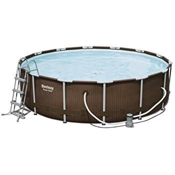 bestway power steel frame pool deluxe komplettset rund. Black Bedroom Furniture Sets. Home Design Ideas