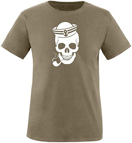 ezyshirt® Skipper Skull Herren Rundhals T-Shirt Oliv/Weiss