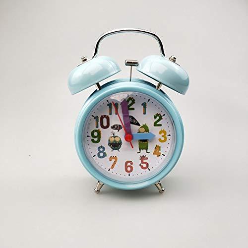 Kinder Wecker 3,5-Zoll-Glocke Uhr Mode Mehrfarben Nachttischuhr mit Nachtlicht,2