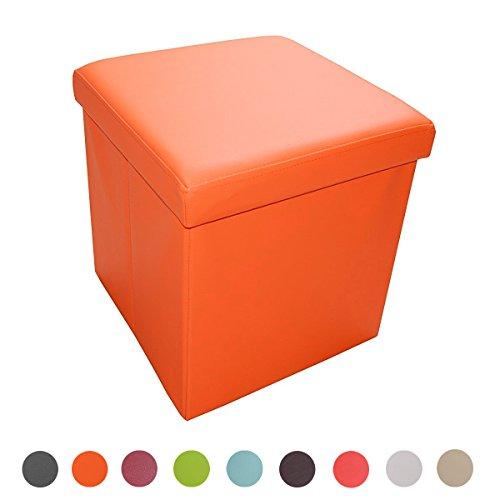 Stylehome® Sitzhocker Sitzbank faltbar Fußhocker Aufbewahrungsbox mit Stauraum Sitzcube belastbar bis 300 kg Kunstleder, 38 x 38 x 38 cm (Orange)