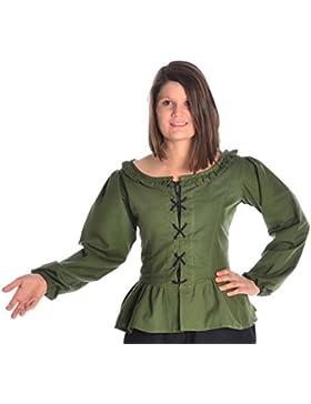 HEMAD Blusa medieval femenina - Encaje frontal y trasero - Algodón puro – S-XXXL Verde, Beige, Negro, Blanco