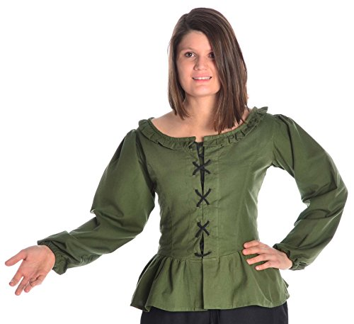 HEMAD Damen Bluse mit Rüschen zum Schnüren Langarm Baumwolle - Mittelalter - Piraten grün XXXL