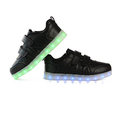 DoGeek LED Schuhe Kinder Damen 7 Farbe USB Aufladen Leuchtend Sportschuhe Led Kinder Farbwechsel Sneaker Turnschuhe für Herren Damen Schwarz
