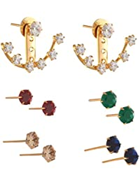 Zephyrr Pierced Ear Cuffs Interchangeable Earrings With Pearls AD For Girls And Women